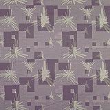 Daybreak Ravensara Purple Yellow Mauve true Purple Leaves Floral Vinyl Upholstery Fabric by the yard
