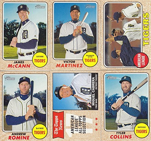 (Detroit Tigers 2017 Topps Heritage Baseball Series Basic 14 Card Team Set with Miguel Cabrera Plus)