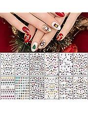12 Vellen Kerst Nagelstickers, BANKU 3D Zelfklevende Sneeuwvlok Kerstman Sneeuwpop X-mas Tree Elanden Nail Art Decals voor Vrouwen Meisjes Kids Kerst Nail Decoraties
