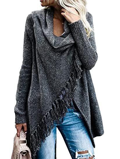 8321b9012b5 Womens Long Sleeve Cardigans Wrap Single Button Tassel Asymmetrical Hem  Shawl Coat