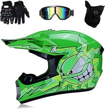 TKUI Motos Motocross Cascos y Guantes y Gafas estándar para niños ATV Quad Bicicleta go Casco de Kart,L(56~57cm): Amazon.es: Deportes y aire libre