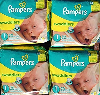 Pack of 4 20 Count Pampers Swaddlers Diapers Size 1 Total 80 count