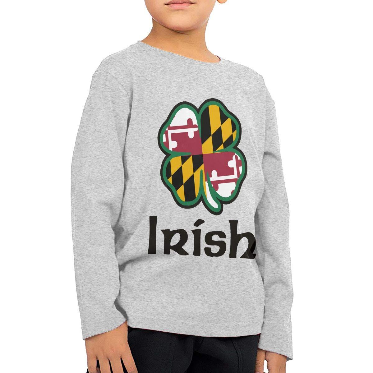 Fryhyu8 Toddler Childrens Maryland Flag Shamrock Irish-1 Printed Long Sleeve 100/% Cotton Infants T Shirts