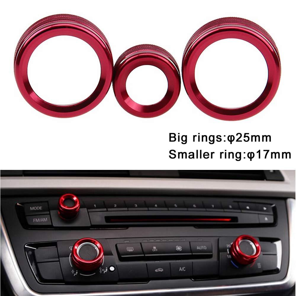 PolarLander 3Pcs Lot Car Air Conditioning Rings Radio Volume Knob Anneau Couvre Decorative Circle Trim High Match Rouge