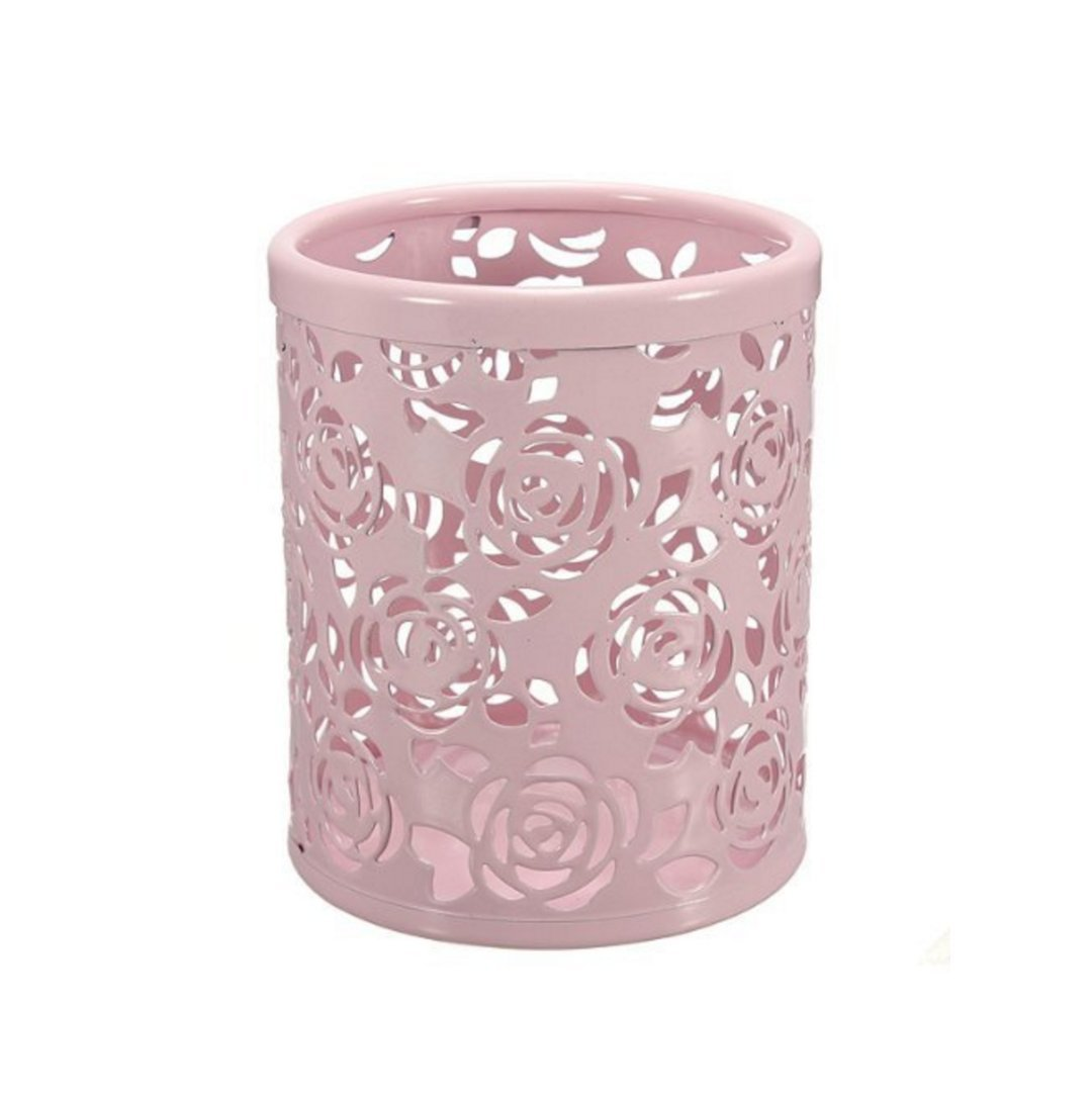 BlastCase Hollow Rose Flower Pattern Cylinder Pen Pencil Pot Holder Container Organizer(Multi-Color to Choose from)