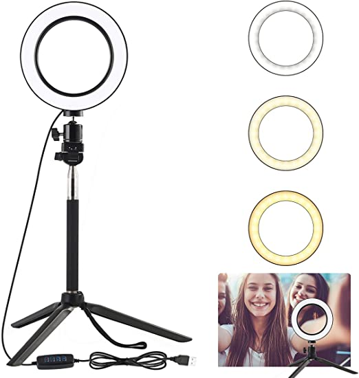 Dimmable Desk Makeup Ring Light for Photography Shooting with 3 Light Modes LED Ring Light 6.3 with Tripod Stand /& Phone Holder for Live Streaming /& YouTube Video