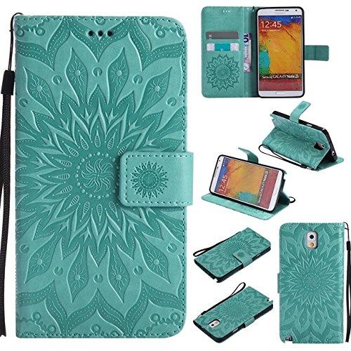 SRY Caja protectora del acollador de la carpeta del tirón del cuero de la PU con la ranura / el soporte de la tarjeta para la nota 3 de la galaxia de Samsung ( Color : Pink ) Green