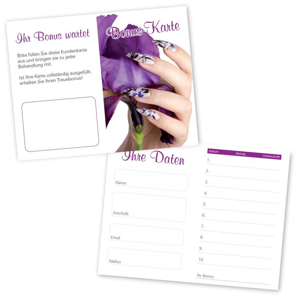 50 Nagelstudio Kundenkarten Nail Art Mit 10 Feldern Und