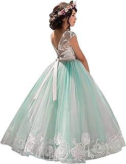 520492ddd1df8e NNJXD Mädchen Spitze Tüll Gestickte Prinzessin Prom Ballkleid Formale  Partei Lang Schwanz Kleider