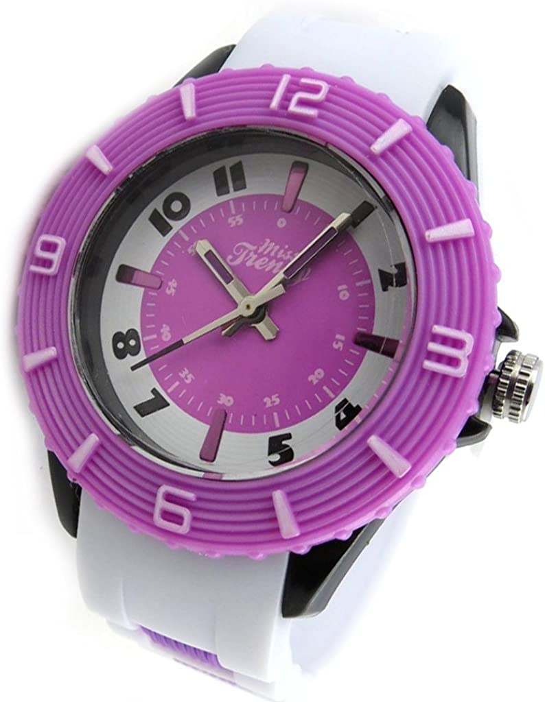 Reloj de pulsera hija 'Trendy'púrpura blanco.