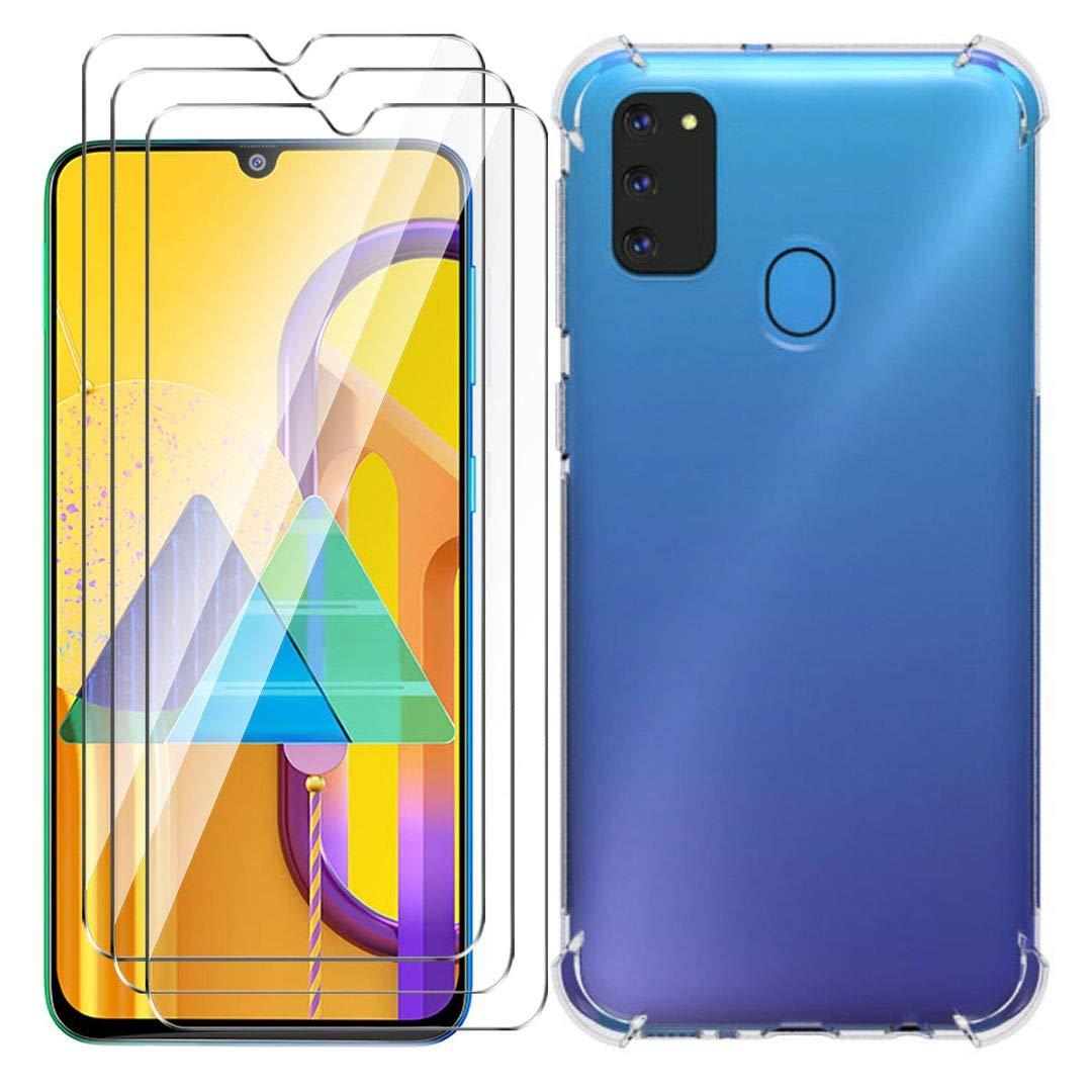 Trasparente Silicone Case TPU Protettivo Rinforzo a Quattro Angoli Resistenza sismica Cover per Samsung Galaxy M30S HYMY Custodia per Samsung Galaxy M30S 6.4 3 x Pellicola Protettiva