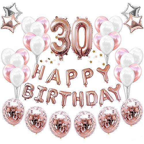 HankRobot 30th Birthday Decorations Party Suppies(38pack)Rose Golden Number 30 Birthday Balloons Happy Birthday Balloon Banner Golden Rose Confetti Balloons Perfect Birthday Decorations for Her