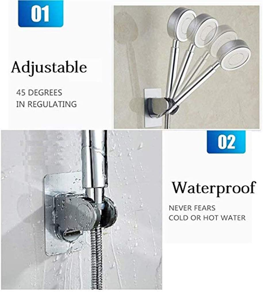 LafyHo 7 Gear Adjustable Stainless Steel Holder No Drilling Pressure Shower Head Nozzle Traceless Bracket Standsshow