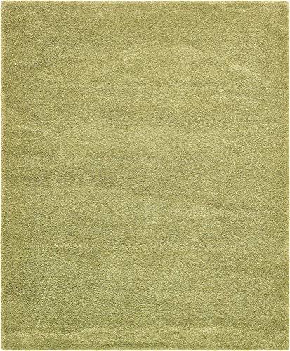 Light Green Contemporary Rug - Unique Loom Solo Collection Solid Plush Kids Light Green Area Rug (8' 0 x 10' 0)