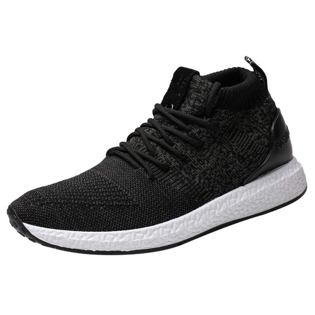 Men's Leisure Sneakers High-top Breathable Lightweight Flying Woven Mesh Surface Sports Athletic Male Shoes