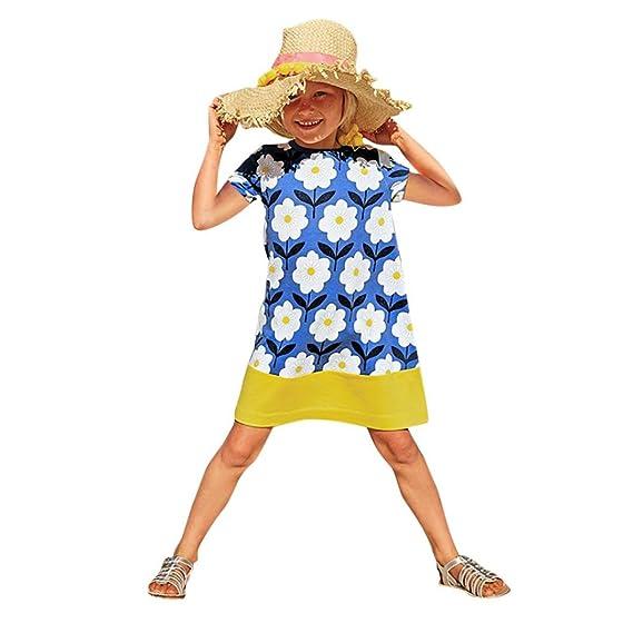 Vestido de Niña Linda,Conjunto de Vestido de Estampado de Flores de Niña Niño