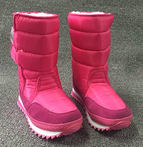Chfso Dames Casual Effen Waterdicht Namaakbont Gevoerd Haak-en-loop Halflange Kuit Lage Hak Winter Warme Sneeuw Laarzen Roze