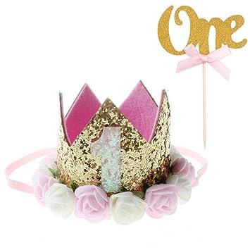 Xinlie 2 Piezas Corona Cumpleaños 1 Año Cake Toppers Decoración Pasteles Número Uno de Brillo Papel con Cinta Cupcake Diademas Bebe Coronas Cumpleaños ...