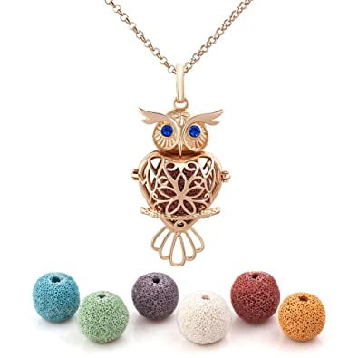 433da10193ac63 Amazon.com: Heart of Charms Owl Lava Stone Aromatherapy Essential Oil  Diffuser Necklace Antique Locket Pendant with 32