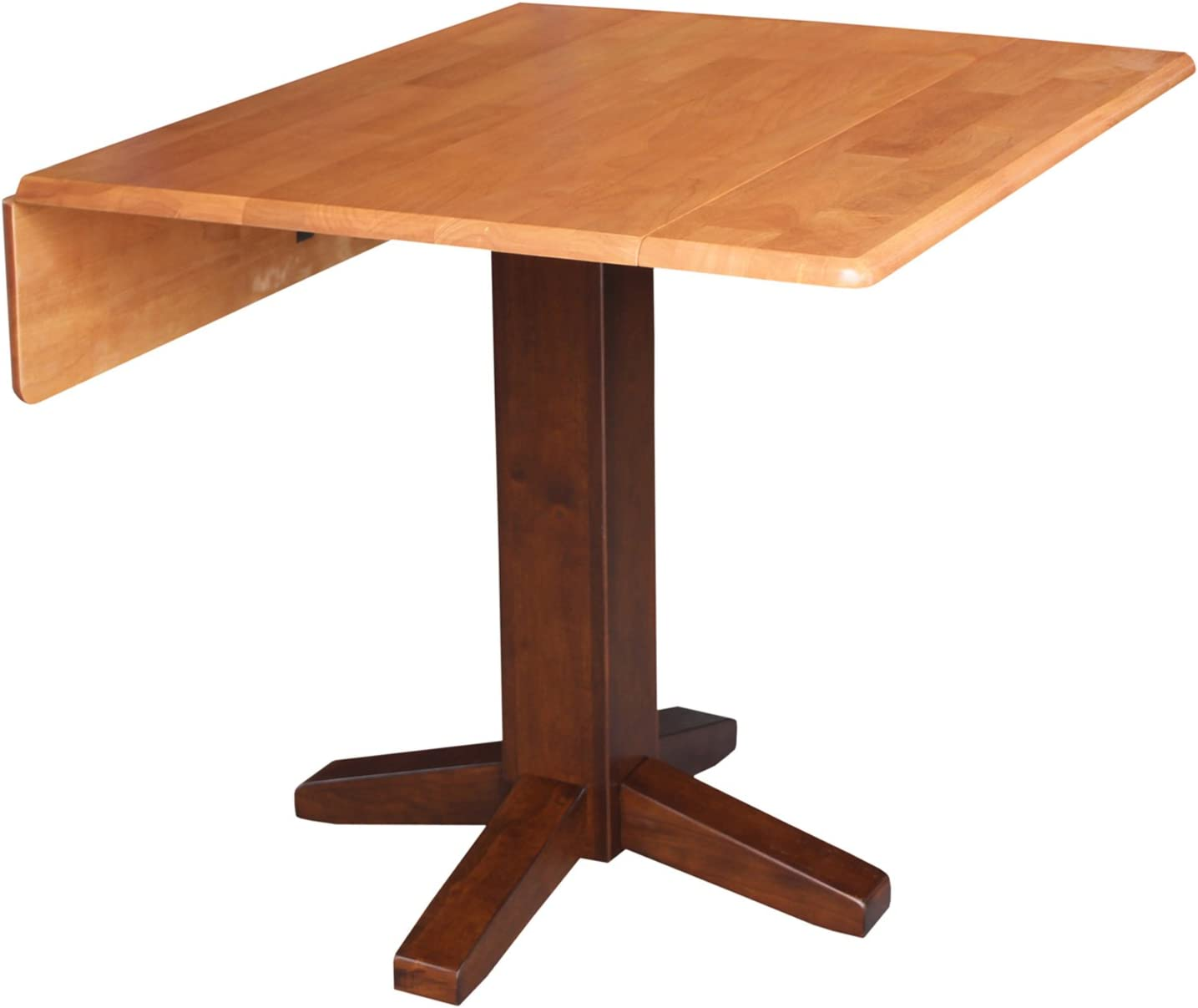 International Concepts Square Dual Drop Leaf Dining Table, 36 , Cinnamon Espresso