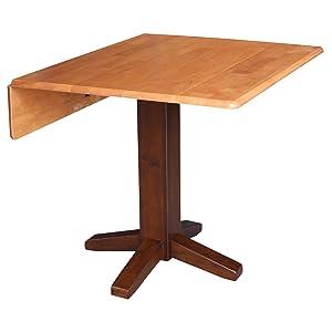 "International Concepts T58-36SDP Square Dual Drop Leaf Dining Table, 36"", Cinnamon/Espresso"