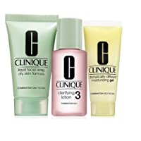 Clinique 3 Step Travel Size Set For Combination Oily To Oily Skin, Liquid Facial Soap Oily Skin, Clarifying Lotion Skin Type 3, Dramatically Different Moisturizing Gel
