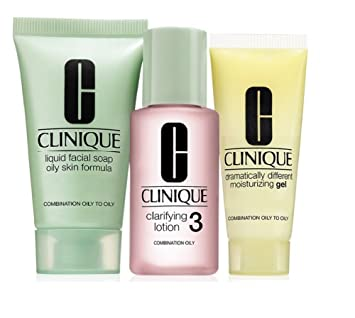 Clinique 3 Step Travel Size Set For Combination Oily To Oily Skin, Liquid  Facial Soap Oily Skin, Clarifying