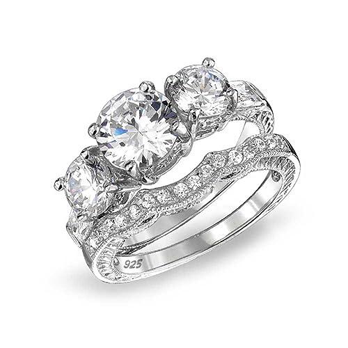 Bling Jewelry Plata 925 CZ Tres Piedras Juego de anillo de compromiso de boda estilo Vintage