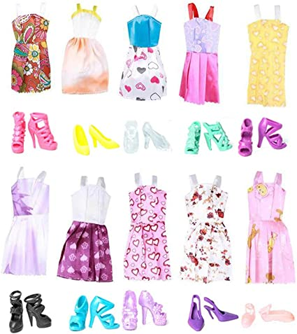 A Set of 2 Short Dresses 1 in Pink and Other in White  Made to Fit Barbie Doll