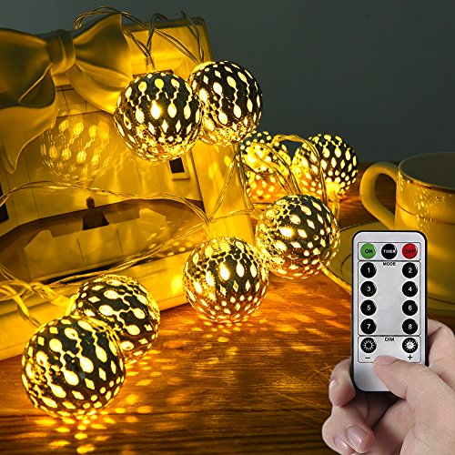 Orb Globe (LED Globe String Lights, LEDGLE 20 LED 8 Modes Battery Operated Moroccan Orb Fairy String Light with Remote Control, Decoration for Bedroom Curtain Party Wedding Xmas Tree, Warm White)