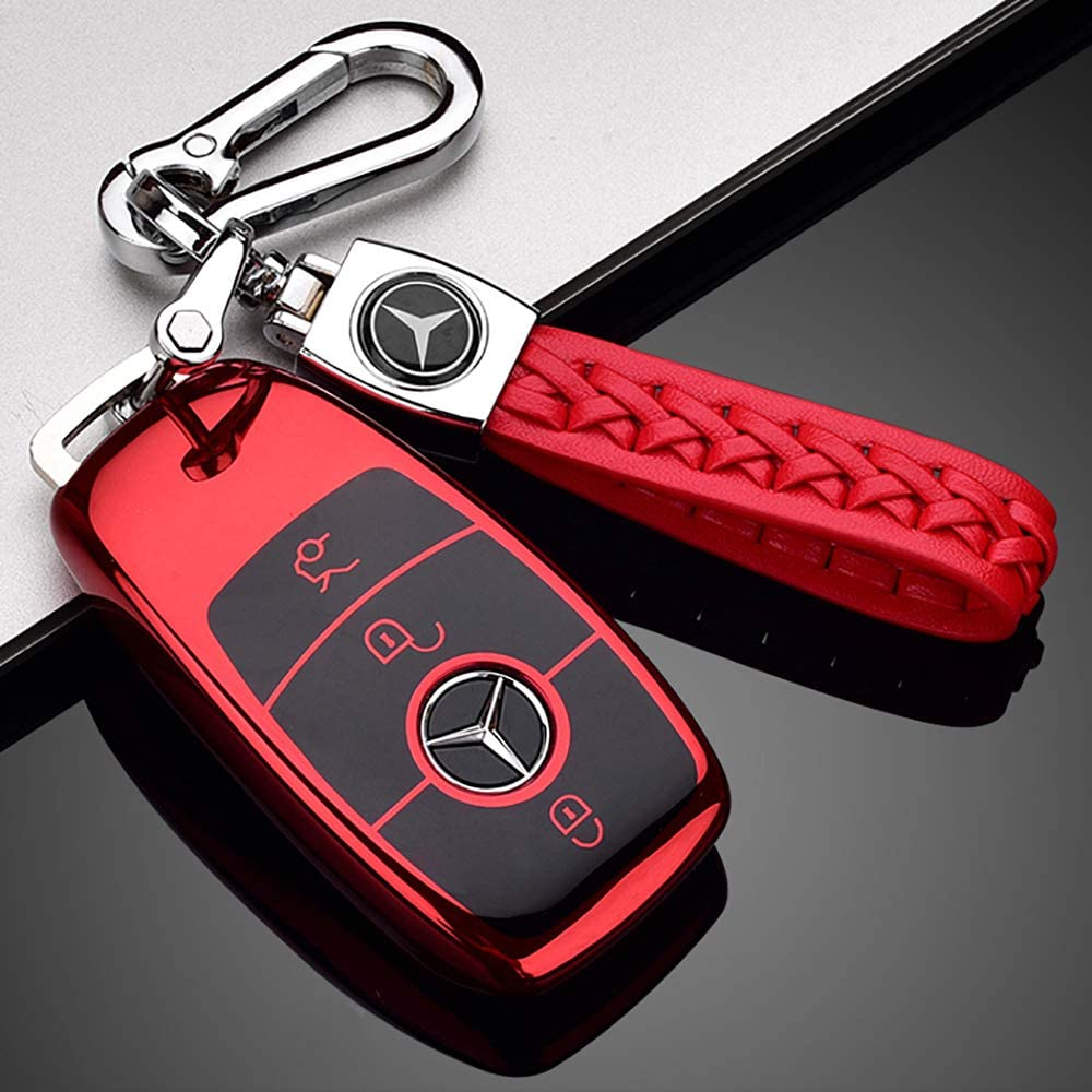 121Fruit Way Suit for Mercedes Benz Key Fob Cover 2018 up S Class 2017 2018 W213 Keyless Smart Key Fob/_Red Premium Fashion Appearance Key Case Cover Mercedes Benz E Class