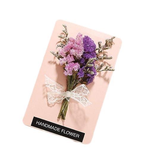 Tarjeta de felicitación de Flores secas Hechas a Mano para ...