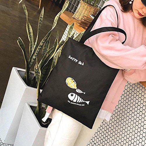 Señoras Simple Bolsos kanlin1986 Barato Para Hombro Bolsa Carta De Moda Lienzo Compras Niñas Negro Totes Mujeres Bandolera Bolso Mujeres Shoppers Casual fq1WrTHfv