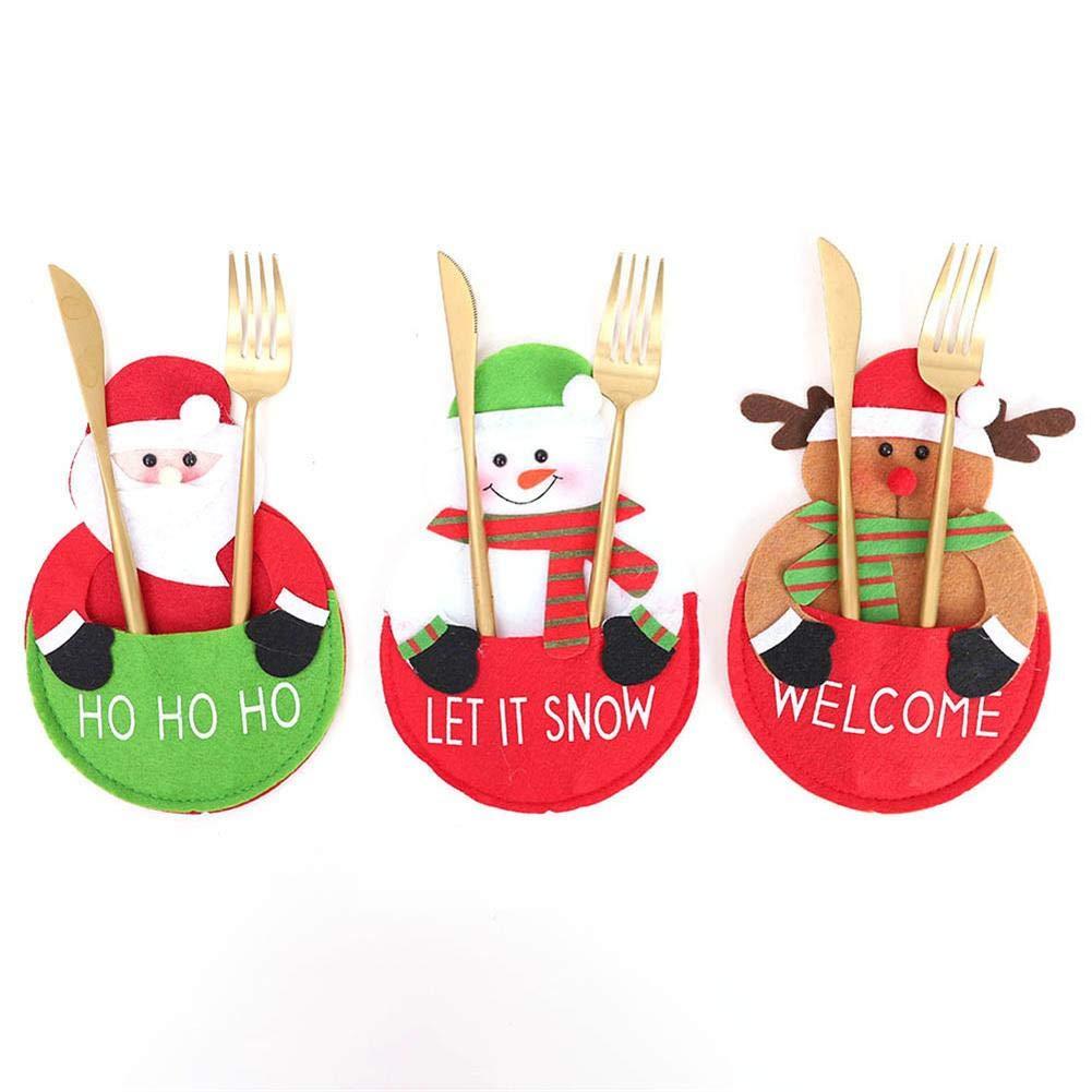 Cuchillo y Bolsa de Tenedor Decoración Navidad Cena Mesa Dibujos Animados Lindo Decoración del hogar Agregue un Ambiente Festivo: Amazon.es: Hogar