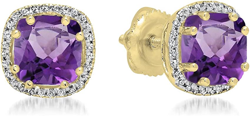 Amethyst Earrings 14K Yellow Gold 4mm or 5mm Studs White Gold Rose Gold 3.5mm