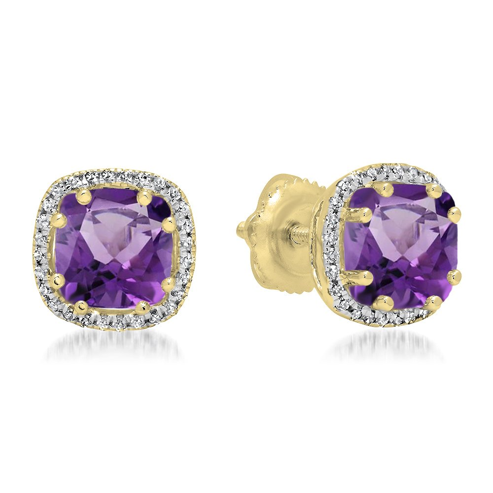 14K Yellow Gold Cushion Cut Amethyst & Round Cut White Diamond Ladies Halo Style Stud Earrings