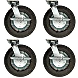 Service Caster - 12'' Black Pneumatic Rubber Wheel - 4 Swivel Casters w/Brakes - Set of 4
