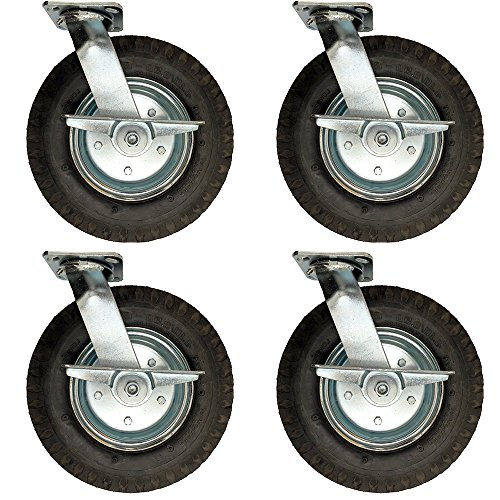 Service Caster - 12'' Black Pneumatic Rubber Wheel - 4 Swivel Casters w/Brakes - Set of 4 by Service Caster