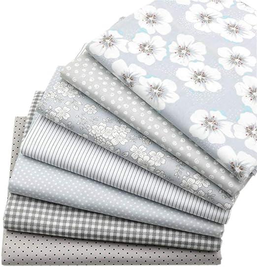 7 piezas de tela de acolchado de los cuartos gruesos grises, tela de costura de algodón con estampado floral superior 46x56cm para acolchar, 18