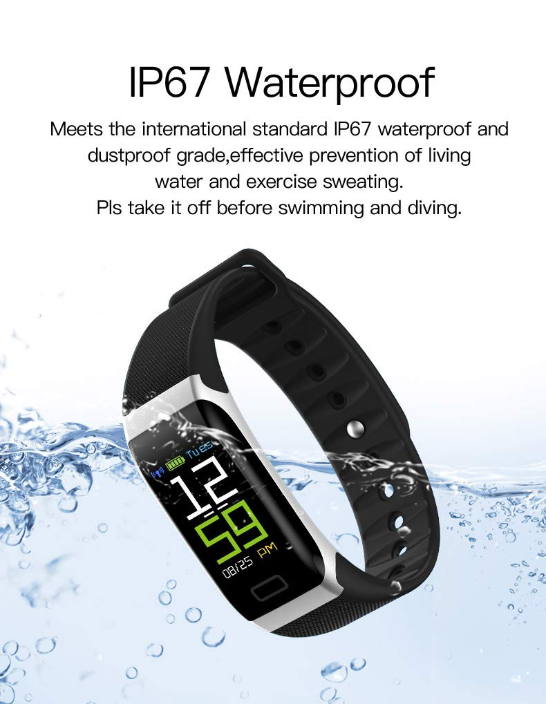 Smart Bracelet Waterproof Activity Tracker Smart Band with Sleep Monitor Fitness Watch Pedometer Health Tracker with Blood Pressure and Blood O2 Monitor USB Charging for Kids Men Women Elderly People