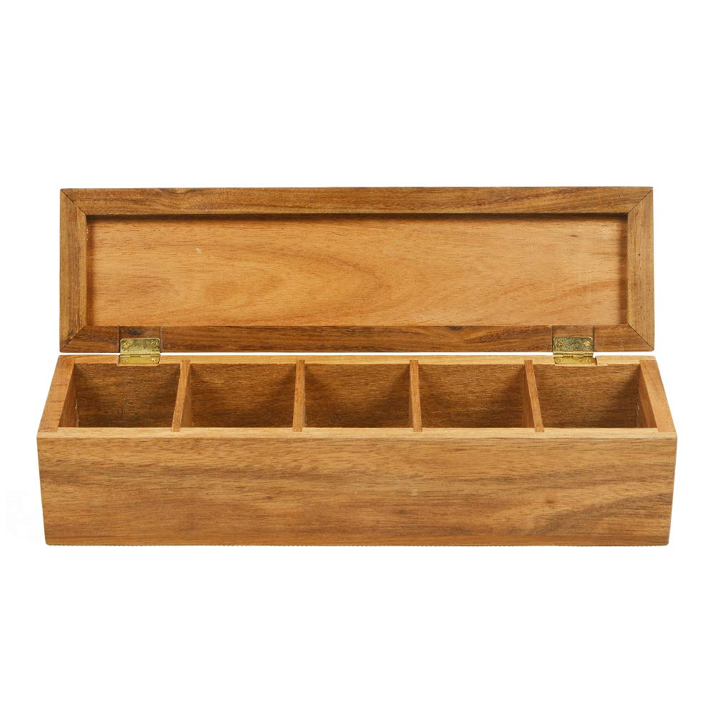 Tea Box Organizer of Natual Acacia Wood for Tea Bag Storage