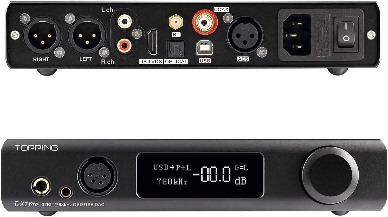 Topping DX7 Pro ES9038Pro DAC Bluetooth 5.0 32Bit 768kHz DSD1024 LDAC Hi-Res Decoder Headphone Amplifier Black
