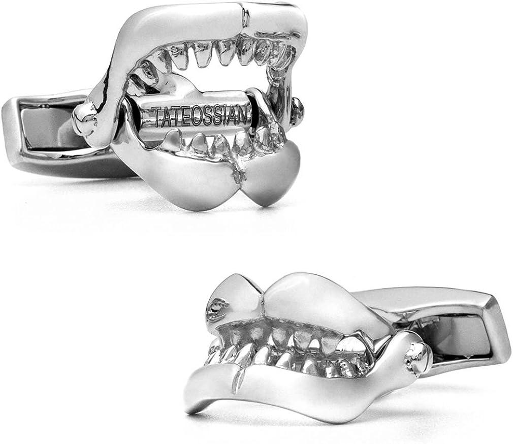Tateossian Silver Shark Jaw Cufflinks