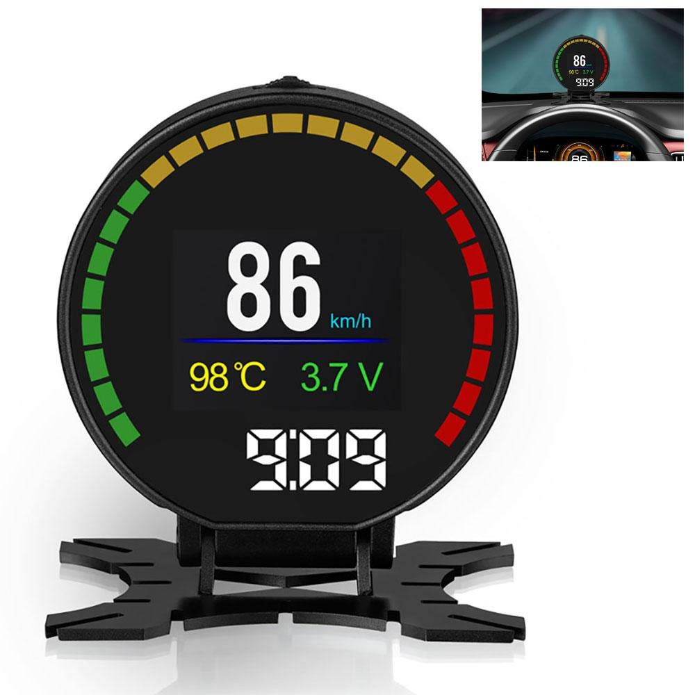 KOBWA Car HUD, Digital Dashboard Windshield Head Up Display OBD2/EUOBD Interface Plug Play Speedometer RPM Fuel Consumption Fatigue Driving Reminder Over Speed Alarm Functions