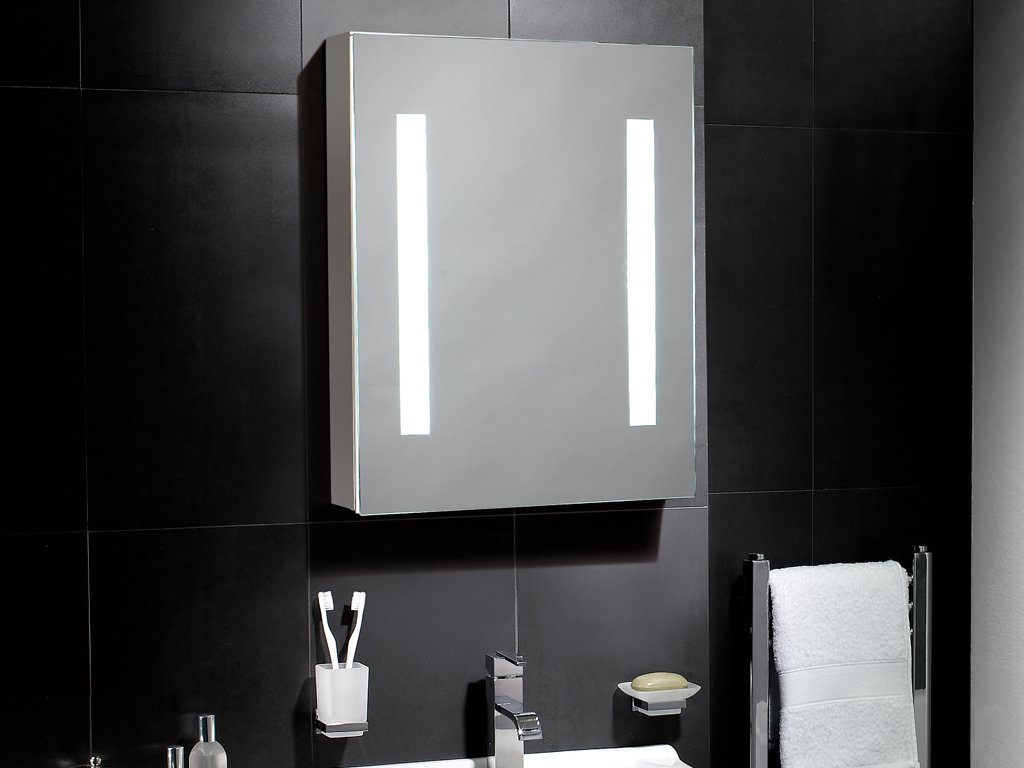 Linden Illuminated Led Cabinet Bathroom Mirror With Lights 500mm(w) X  650mm(h) Aluminium Cabinet With Sensor Switch, Shaver Socket, Demister &  Shelves: