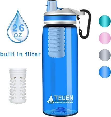 TEUEN Filtro Agua Botella 770ml Filtro Purificador de Agua Portatil Elimina Bacterias y Protozoos, 2000L Sistema de Filtración de Agua Filtro de Agua para Supervivencia Acampada Emergencia (Azul): Amazon.es: Deportes y aire