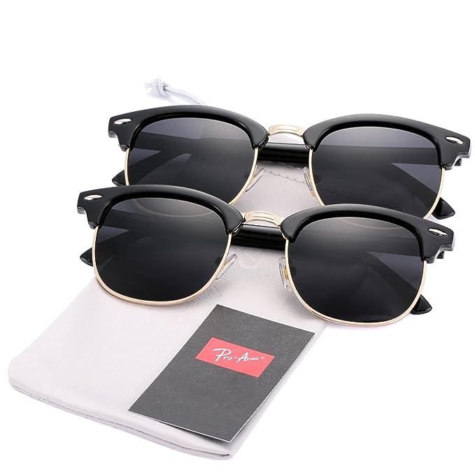 09a5be9d5c0 Pro Acme (Pack of 2) Semi Rimless Polarized Clubmaster Sunglasses for Men  Women (Bright Black Frame Black Lens + Bright Black Frame Black Lens)   Amazon.ca  ...