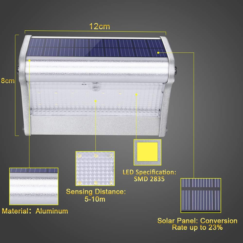 450lm 1500mAh 24 LED Luces Solares Exterior de Aluminio, Luz Solar IP65 Impermeable, Foco Solar Radar de Sensores de Movimiento para Porche, Jardin, Patio, ...