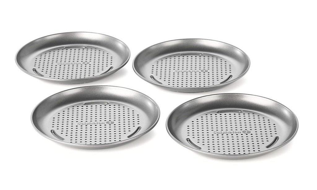Calphalon Nonstick Bakeware, Mini Pizza Pan, 7-inch, Set of 4