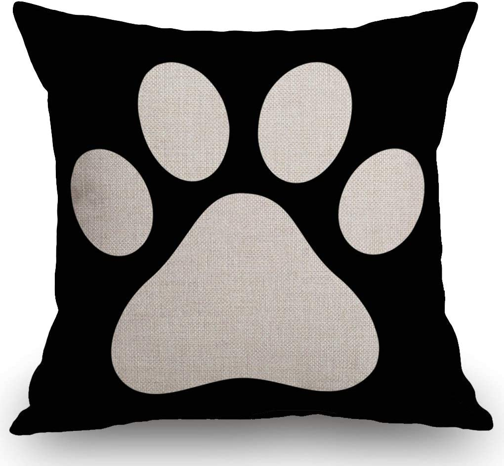 "SSOIU White Dog Paw Footprint Icon Isolated On Black Background Decoration Farmhouse Decor Cotton Linen Home Decorative Throw Pillow Case Cushion Cover for Sofa Couch, 18"" x 18"""